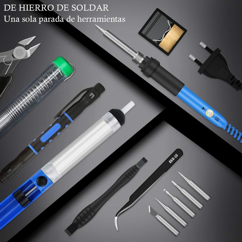 E·Durable 13pcs Soldador estaño 60w,Kit de Soldador electrico Puntas Soldador,Destornilladores Pluma, Puntas para cautín, Bombas de Soldadura, ...