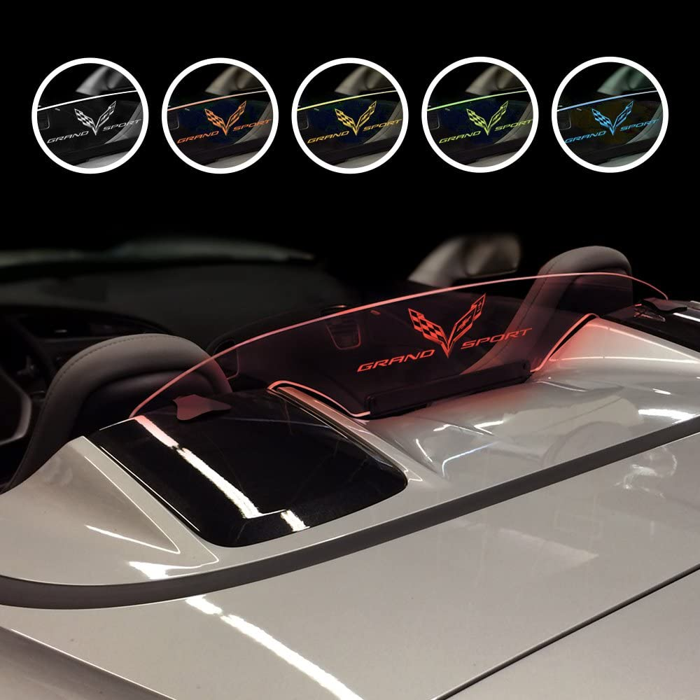 Present Chevrolet Corvette C7 Convertible with Orange Illuminated Laser Etched Grand Sport and C7 Flag Logo Graphic Wind Restrictor LED Wind Deflector for 2014