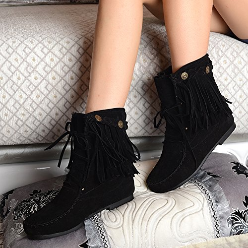 BIGTREE Women Short Comfortable Breathable Black Boots up Casual Fashion Ankle Boots Tassel Lace Xwv7qxgRXr