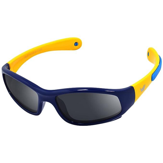 WHCREAT Gafas de sol polarizadas para niños Wrap Sport Chasis de goma flexible con bandas antideslizantes para niñas de 3 a 6 años: lente de color ...