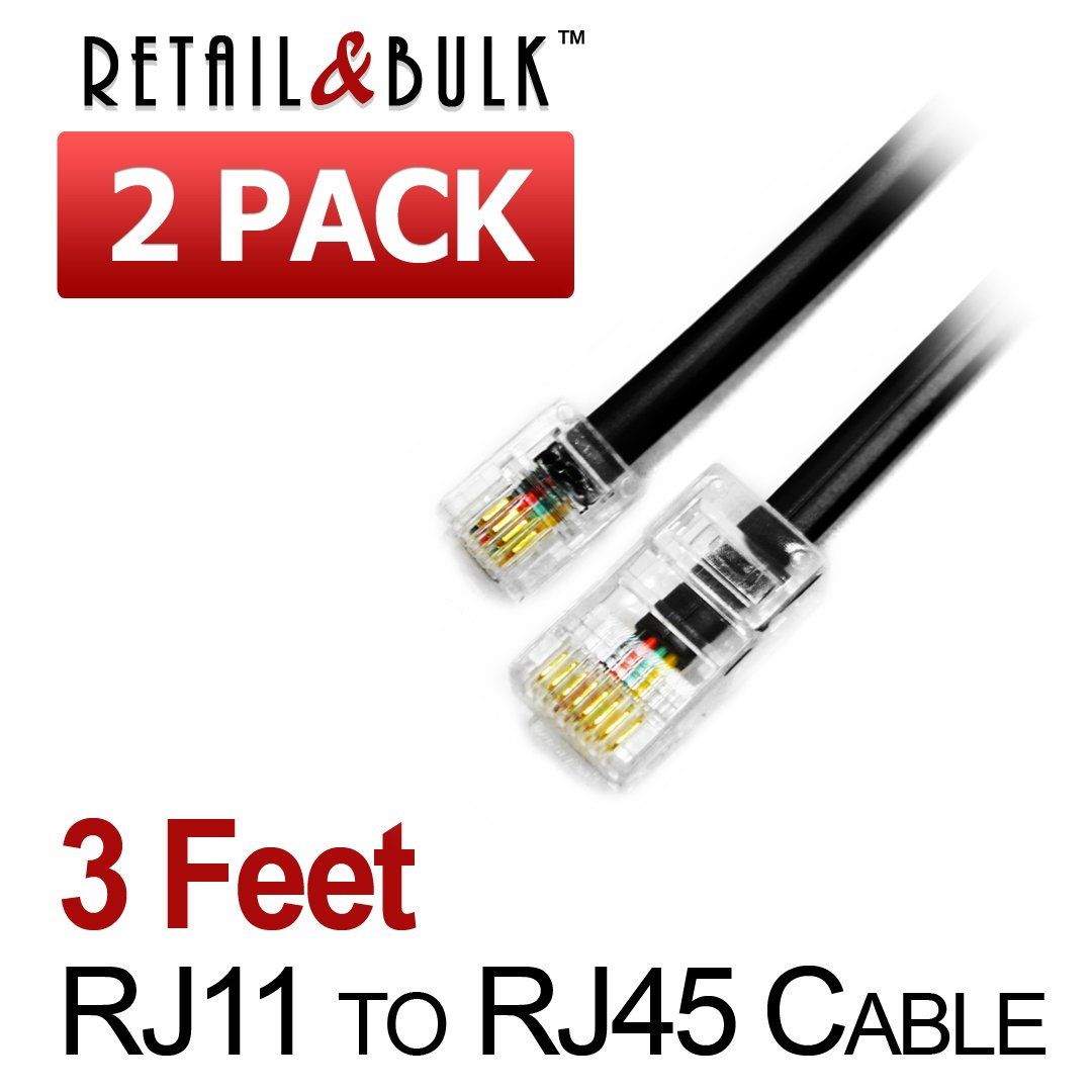 2 Pack 3 Feet Rj11 6p4c To Rj45 8p8c Interconnect Keystone Jack Wiring Diagram In Addition Telephone Cable 36 Inches Black Electronics