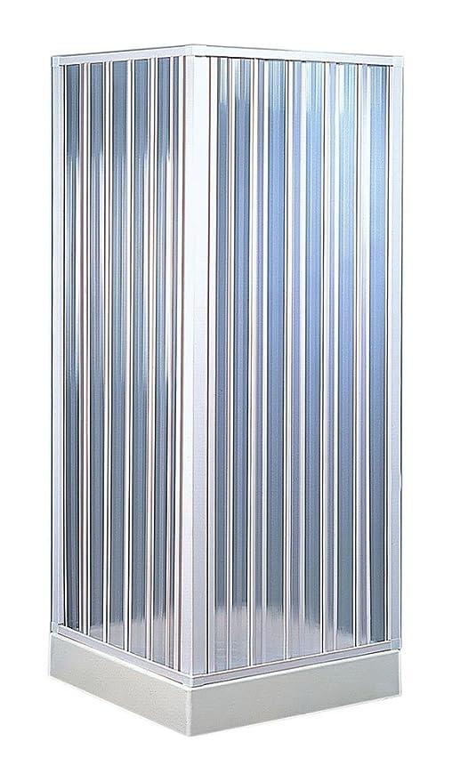 Forte BKP100001- Box Doccia Angolare Riducibile, 80 x 80 x 185, Colore  Bianco Pastello