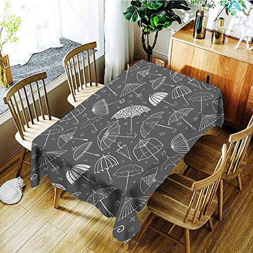 Rectangular tablecloth,Seamless pattern with umbrellas on black background Can be used for wallpaper pattern fills textile web page background surface textures ,Table Cover for Kitchen Dinning - Table Oval Textures