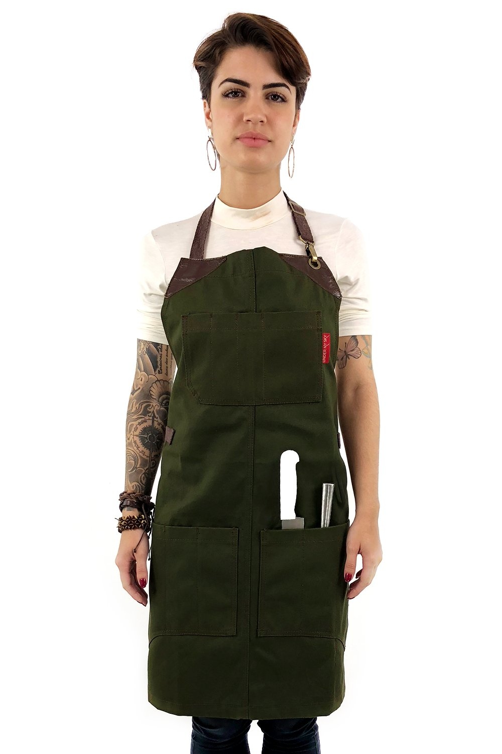 Under NY Sky Knife-Roll Forest Green Apron – Heavy-Duty Canvas, Leather Reinforcement – Adjustable for Men and Women – Pro Chef, Barbecue, Butcher, Bartender, Woodworker, Tool Aprons