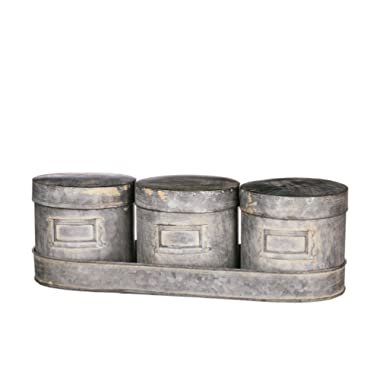 Set of 3 Sullivans 5  Vintage Style Metal Canisters with Tray