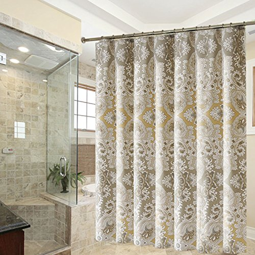 Hogoo Roman Style Shower Curtain Polyerster Waterproof Fabric Mildew-Resistant 72 x 72 inch (Color Neutral Shower Curtains)