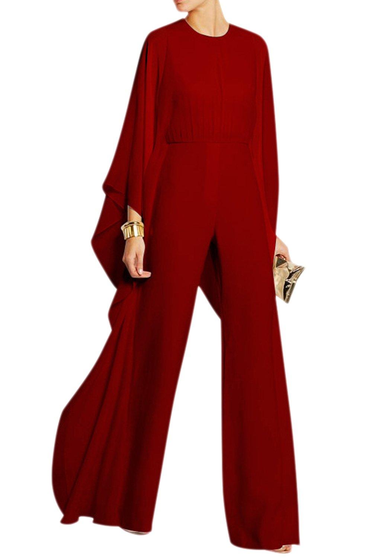 Yacun Tailleur Pantalon Femme Veste Combinaison Chic à Manches Longues en Mousseline de Soie pour FRSNGJf1592