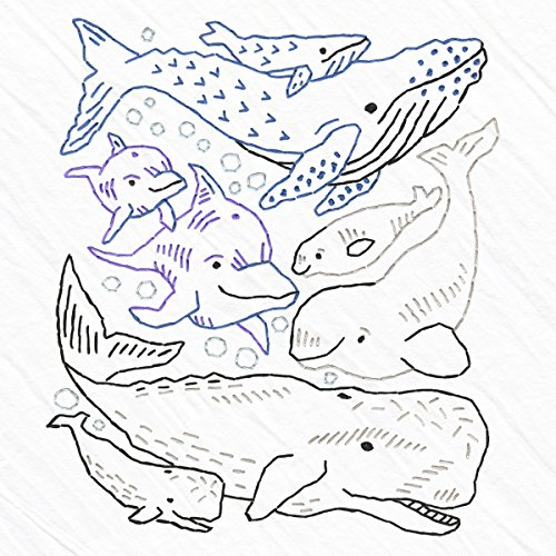 Heidi Boyd | Whales and Dolphin Embroidered Whimsy Tea Towel Kit | Stitch up Some Underwater Fun with This New Easy to Sew Whales and Dolphins Embroidery Kit by Boyd, Heidi