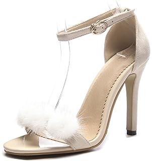 Aisun Femme Sexy Découpe Peep Toe Banquet Fille Bottes Sandales Noir 44