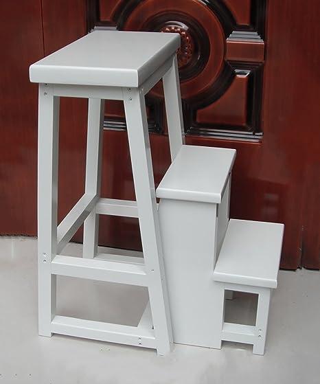 JPVGIA Taburete de Escalera Plegable de 3 Pasos Taburete de Escalera Multifuncional Escaleras de Silla de Madera sólida Creativa nórdica, 4 Colores Opcionales (Color : White): Amazon.es: Hogar