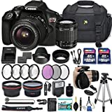 Canon EOS Rebel T6 DSLR Camera with EF-S 18-55mm f/3.5-5.6 IS II Lens + 2 Memory Cards + 2 Auxiliary Lenses + HD Filters + 50'' Tripod + Premium Accessories Bundle (24 Items)