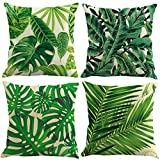 ocjemoTablecloths 4 pcs Novelty Tropical plant pattern Linen Pillowcase Sofa Home Decor Cushion Cover 45x45cm 18X18inch