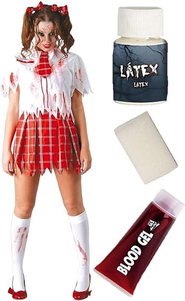 Disfraz de Estudiante Zombie con set de maquillaje: Amazon.es ...