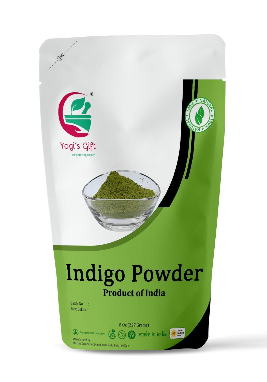Yogi's Gift Organic Indigo Powder for Hair dye | Ideal for Black and Dark Hair | Indigofera Tinctoria | Black Henna | 8 oz (227 grams) | Organic Natural Hair color