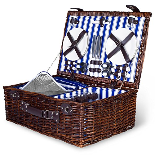 4 Person Wicker Picnic Basket: Deluxe Woven Willow Vintage Hamper Set - Porcelain Plates, Stainless Steel Silverware, Opener and Glass Wine Glasses; Free Cold Storage Bag; Extra-Large 22 by 15 in. (Picnic Basket Wicker)
