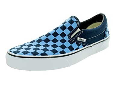 vans blue checkerboard slip on