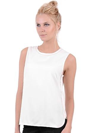 85bf44cdc8900f HQ Gizmo Ladies Black White Smart Chiffon Sleeveless Top (ML - UK (12-14),  White): Amazon.co.uk: Clothing