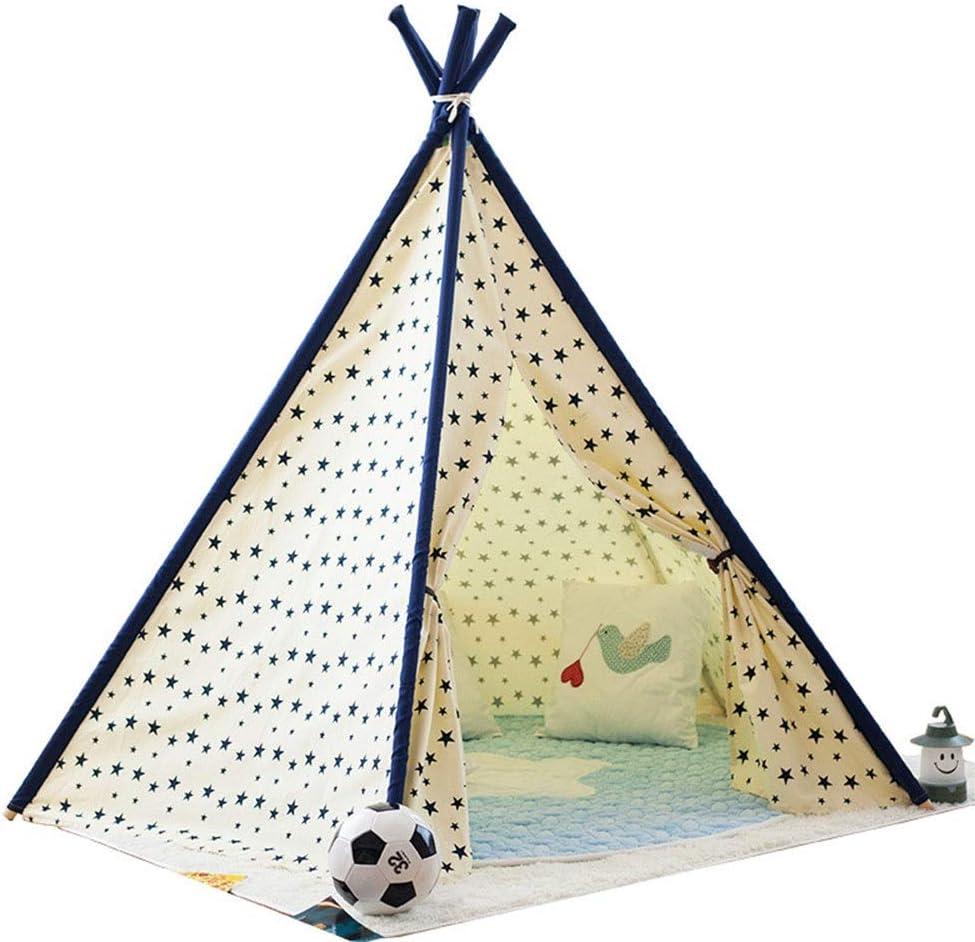 子供用テント 屋内または屋外の遊びの女の子と男の子の子供部屋の装飾のための折り畳み式の子供のゲームの綿のキャンバスのテント 子供の屋内と屋外のプレイギフト (Color : Yellow, Size : 110x110x155cm)