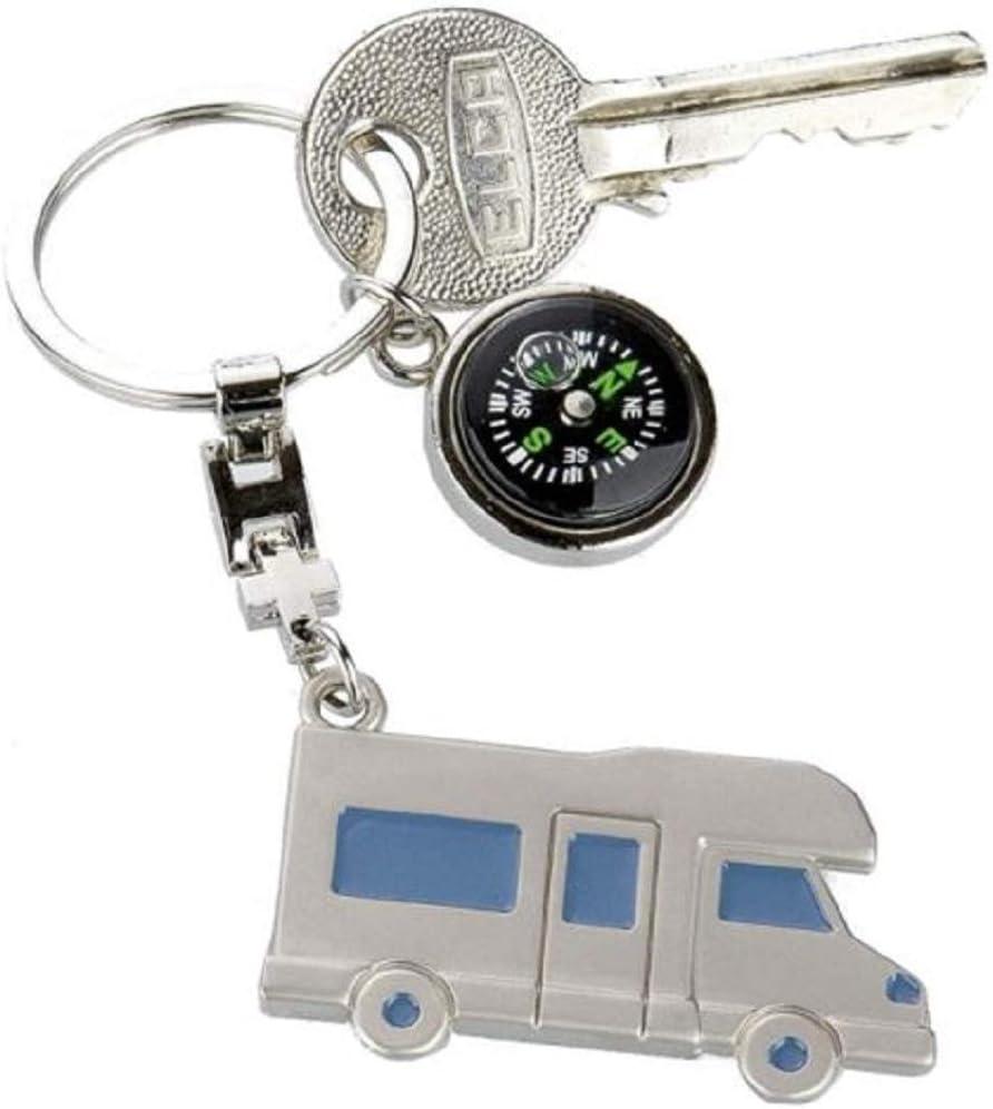 Metall Schlüsselanhänger Wohnmobil Mit Kompass Geschenk Camper Silber Koffer Rucksäcke Taschen