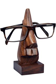 ShalinIndia Handmade Indian Wooden Nose Shaped Specs Stand Spectacle Holder Shalincraft MN-sp/_holder