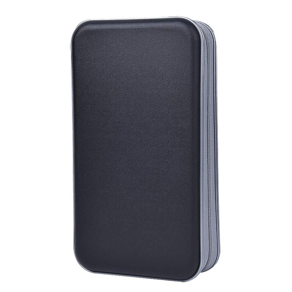 alavisxf xx CD Case, 96 Capacity Hard Plastic CD Holder Protective DVD Disc Storage Case Holder Portable Zipper CD DVD Organizer Storage Wallet for Car Home Travel (96 Capacity, Upgrade Black) by alavisxf xx
