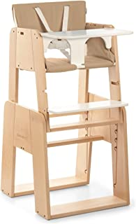 moodelli Growi–Highchair Evolutionary with Safety Harness and Set, 6Months, Includes Tray and Cushion–Wood/Beige