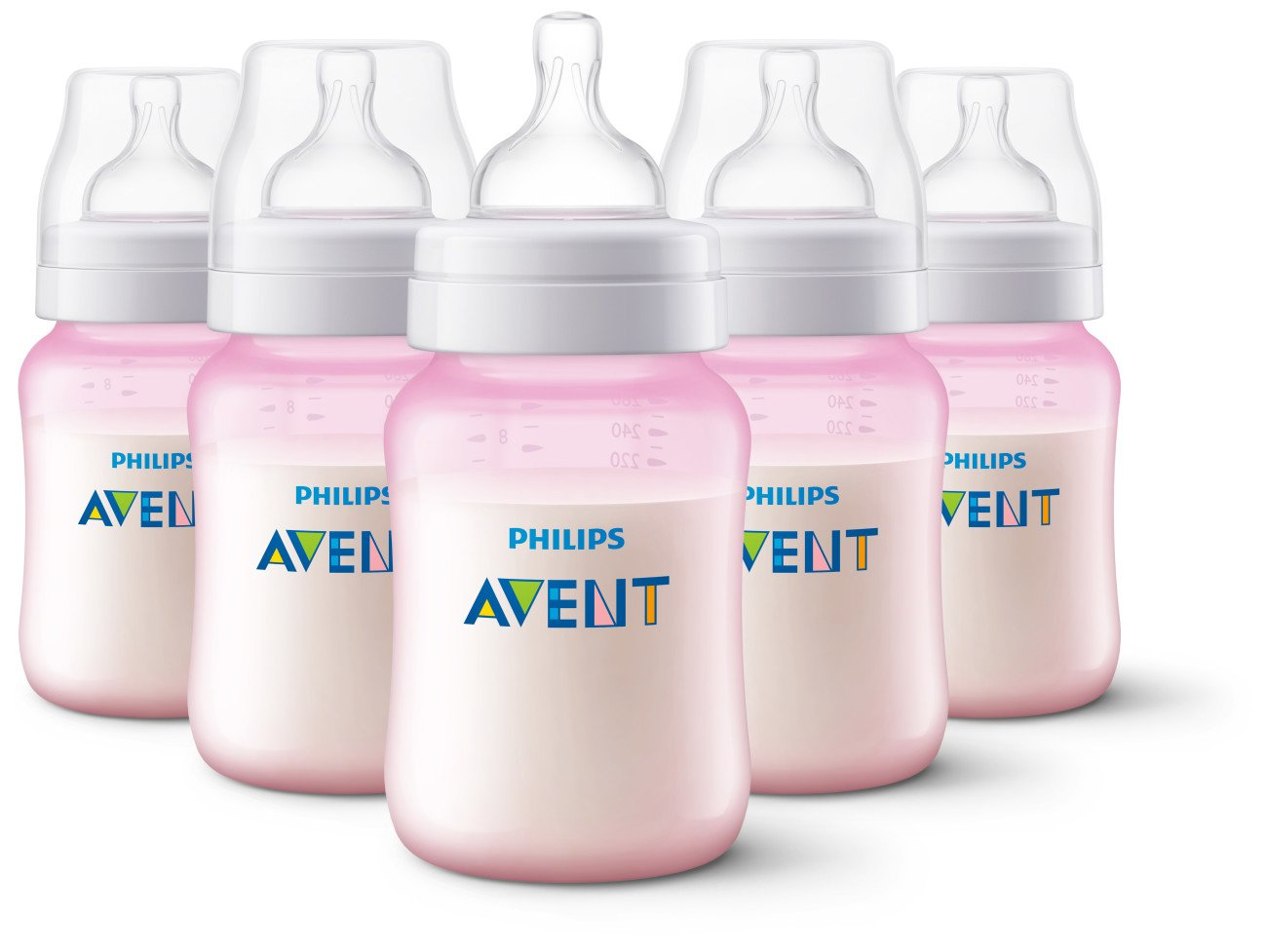 Philips Avent Anti-Colic Baby Bottles, Pink, 9 Ounce (Pack of 5) SCF404/57