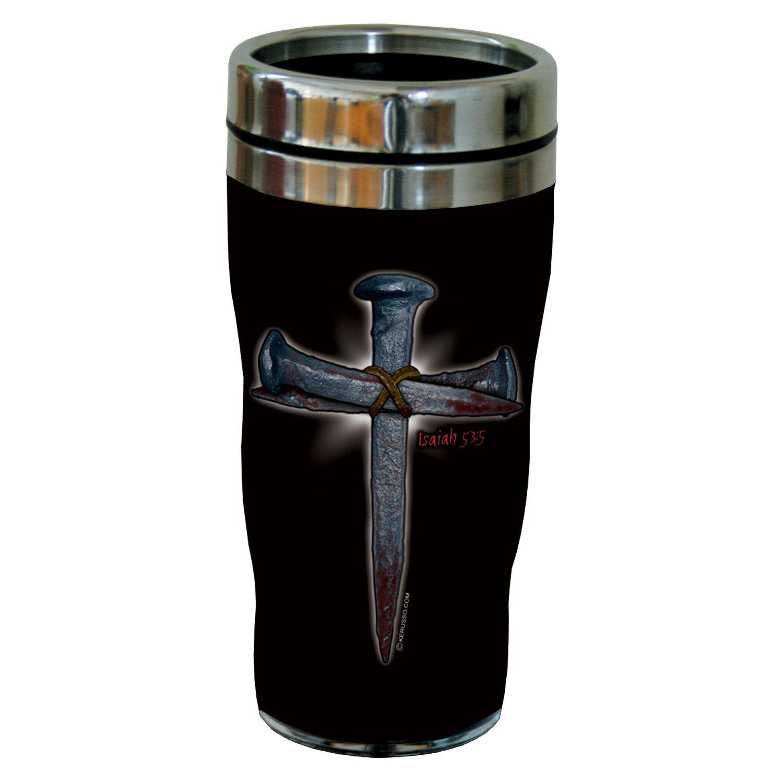 Tree-Free Greetings sg24283 Spike Cross: Isaiah 53:5 Sip 'N Go Stainless Steel Lined Travel Tumbler, 16-Ounce