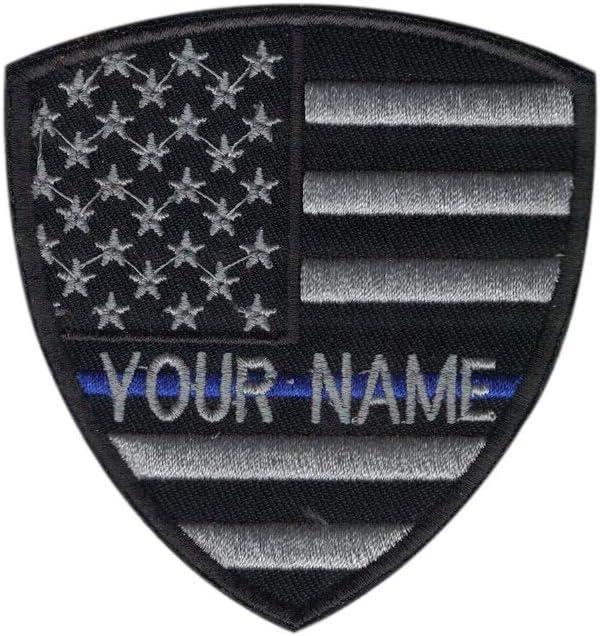 Custom nombre texto fina línea azul bordado escudo moral parche Hook Backing: Amazon.es: Juguetes y juegos