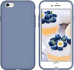 GUAGUA iPhone 6s Plus Case iPhone 6 Plus Case Liquid Silicone Soft Gel Rubber Slim Thin Microfiber Lining Cushion Texture Shockproof Protective Phone Cases for iPhone 6 Plus/6s Plus Lavender Gray