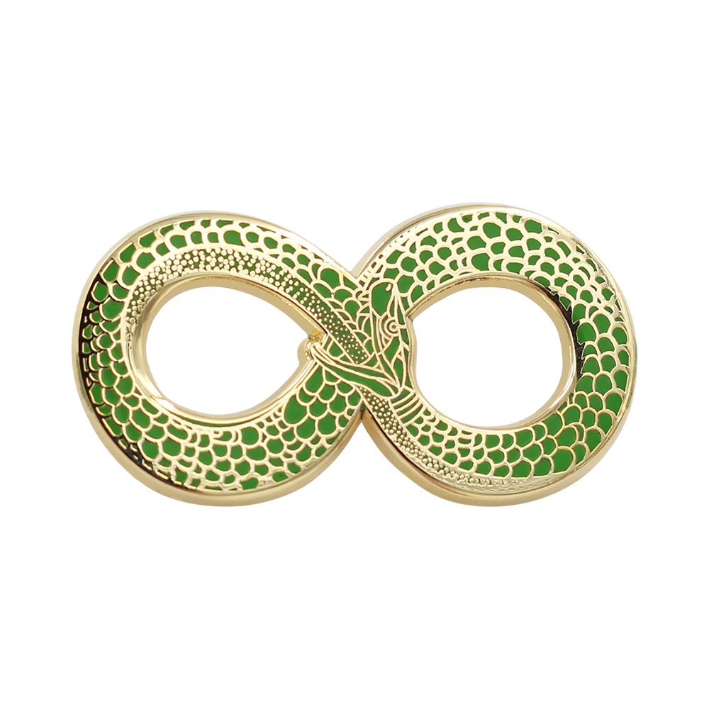 Real Sic Occult Ouroboros Enamel Pin by Green and Gold Snake Pin - Halloween Lapel Pins Series