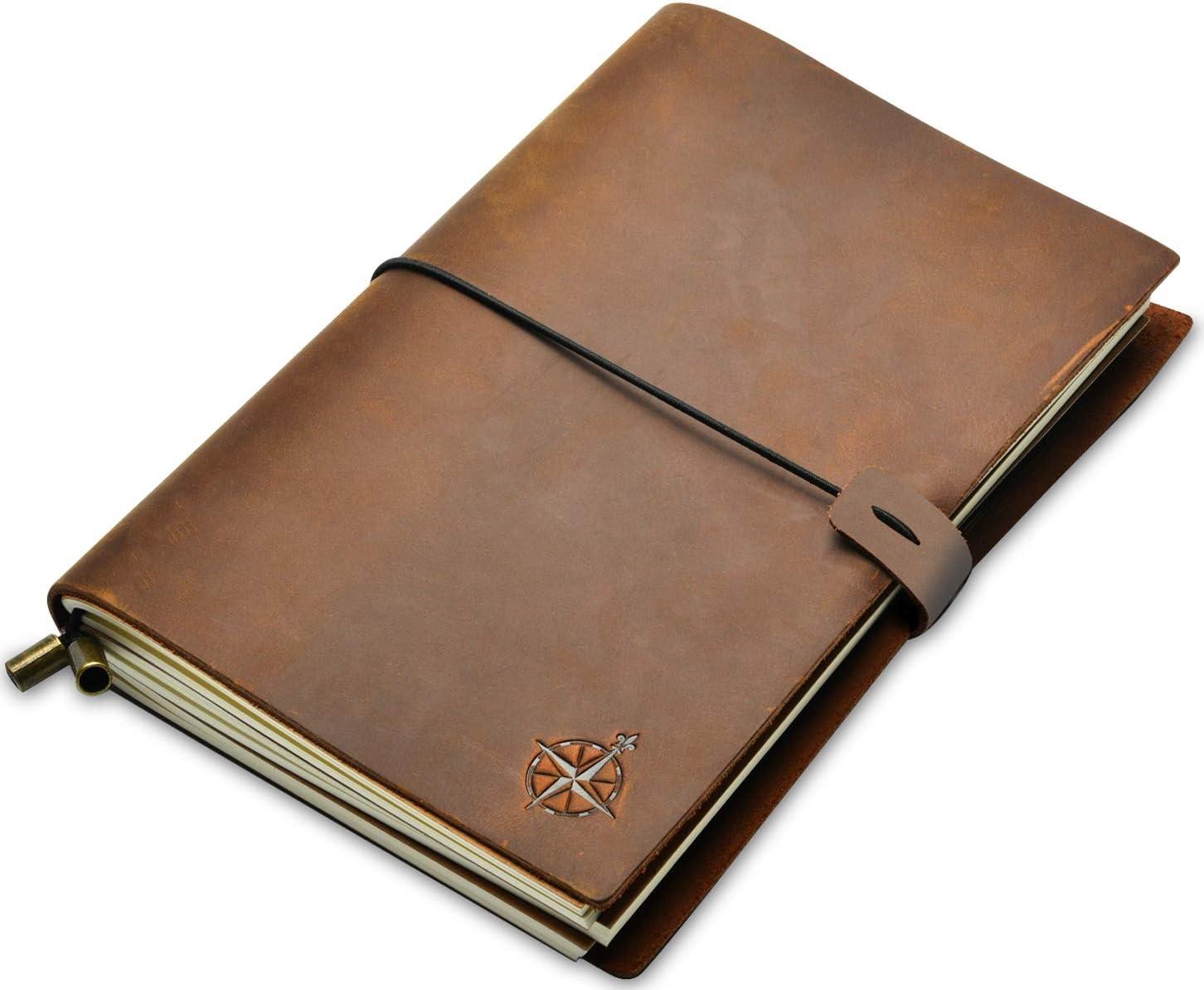 Wanderings Cuaderno de Cuero - A5 Cuaderno de Viaje Rellenable | Libreta de Cuero Perfecto para Escritura, Poesía, Viajes, como Diario | Insertos en Blanco | Diario de Cuero | 22x15cm A5
