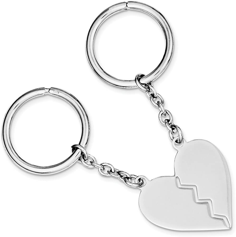 Brilliant Bijou Solid .925 Sterling Silver Rhodium Plated Key Chain Necklace inches