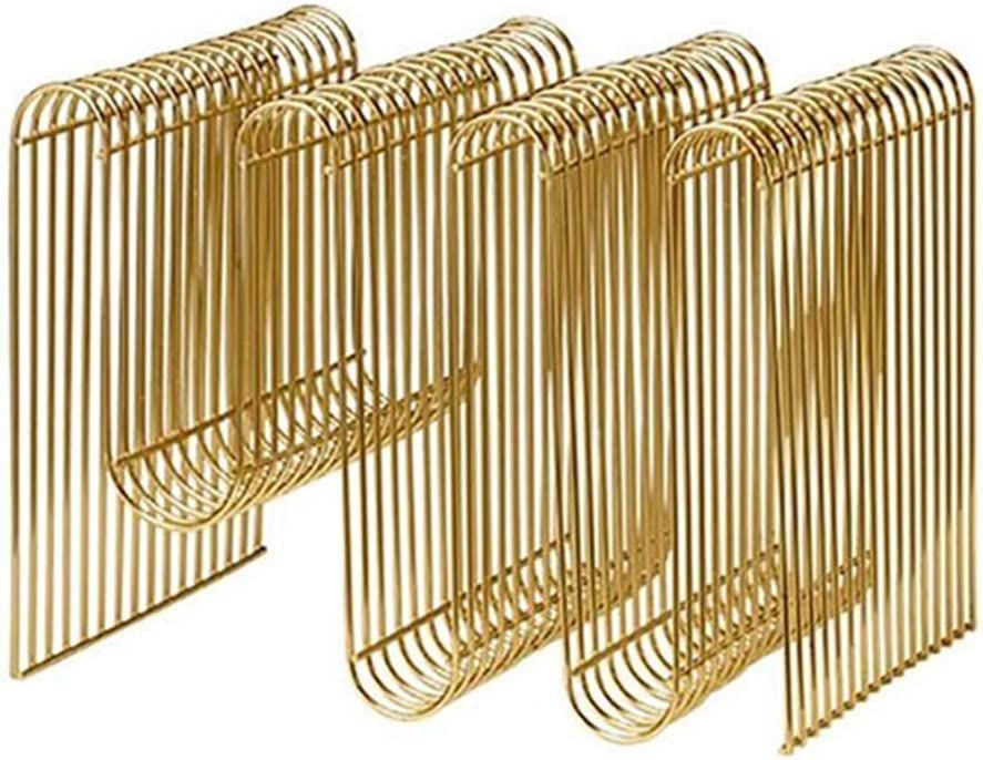 NAKE マガジンラックマガジンラック新聞ラック情報フレームクリエイティブフロア小さな本棚デスクトップラック最高の贈り物 NAKE (Color : GOLD, Size : 40*30*30CM)