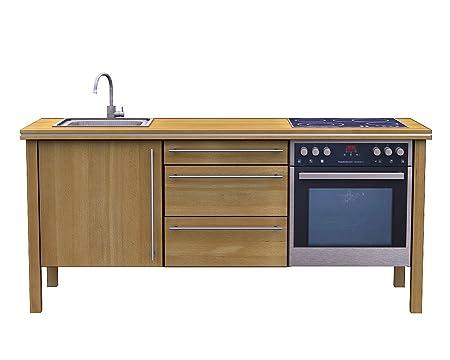 Singleküche 1 2 buche massivholzküche massivholz ökoküche bioküche amazon de küche haushalt