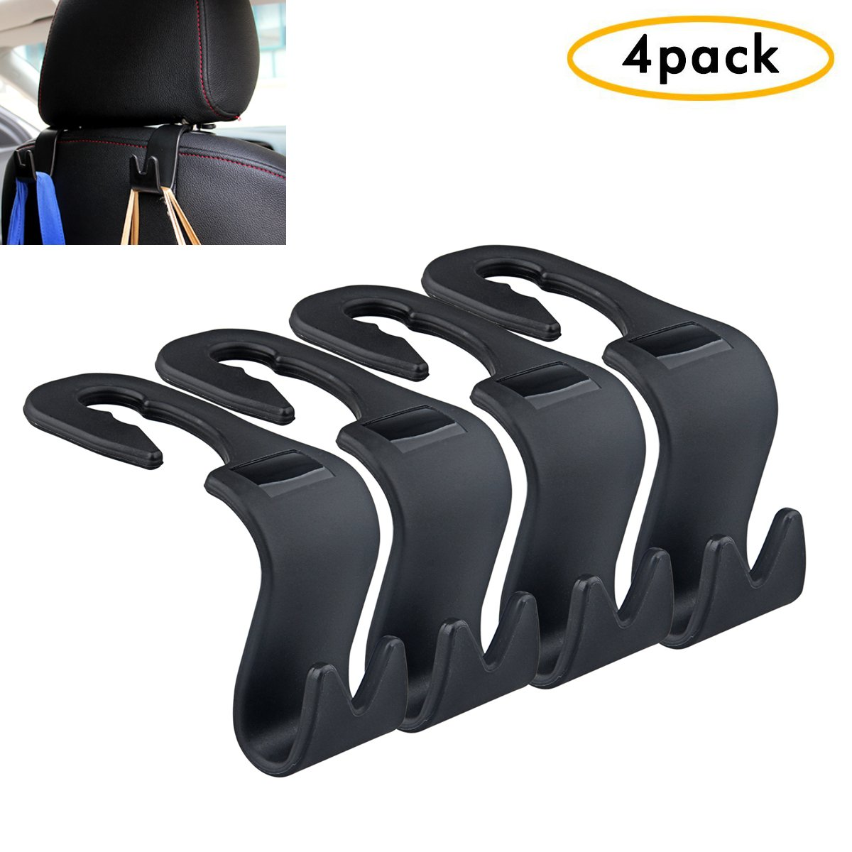 (Set of 4) Car Headrest Hanger, Akwox Universal Car Hook 4 Car SUV Back Seat Headrest Hanger Storage Hooks