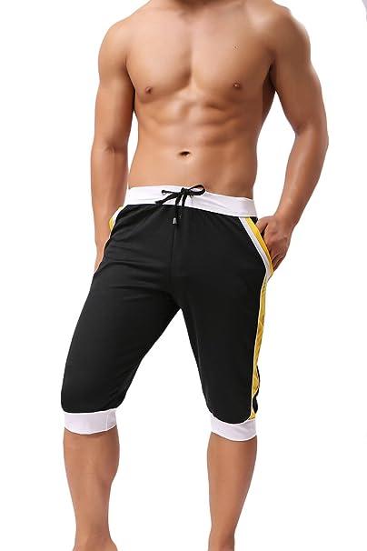 8ddece16ca79bd sandbank Men s Summer Casual Workout Gym Joggers Capri Pants Lounge Sweat  Shorts (US L