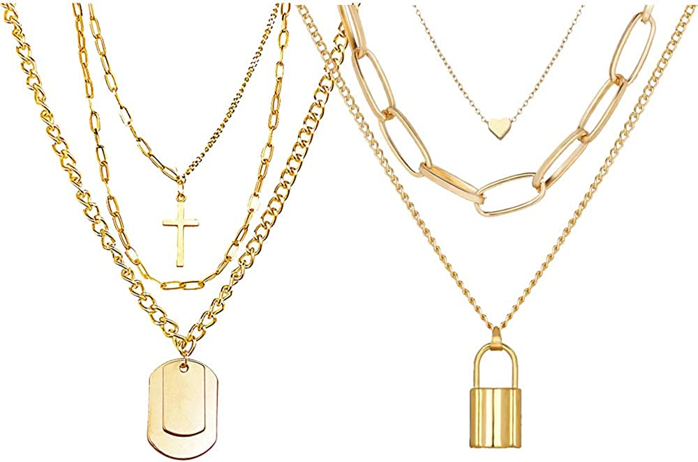 Unisex Punk Multi Layer Silver Gold Long Big Lightweight Chain Padlock Necklaces