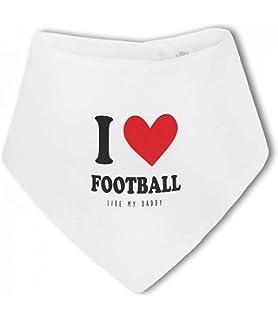 Baby Bandana Bib by BWW Print Ltd I Love Football like Daddy