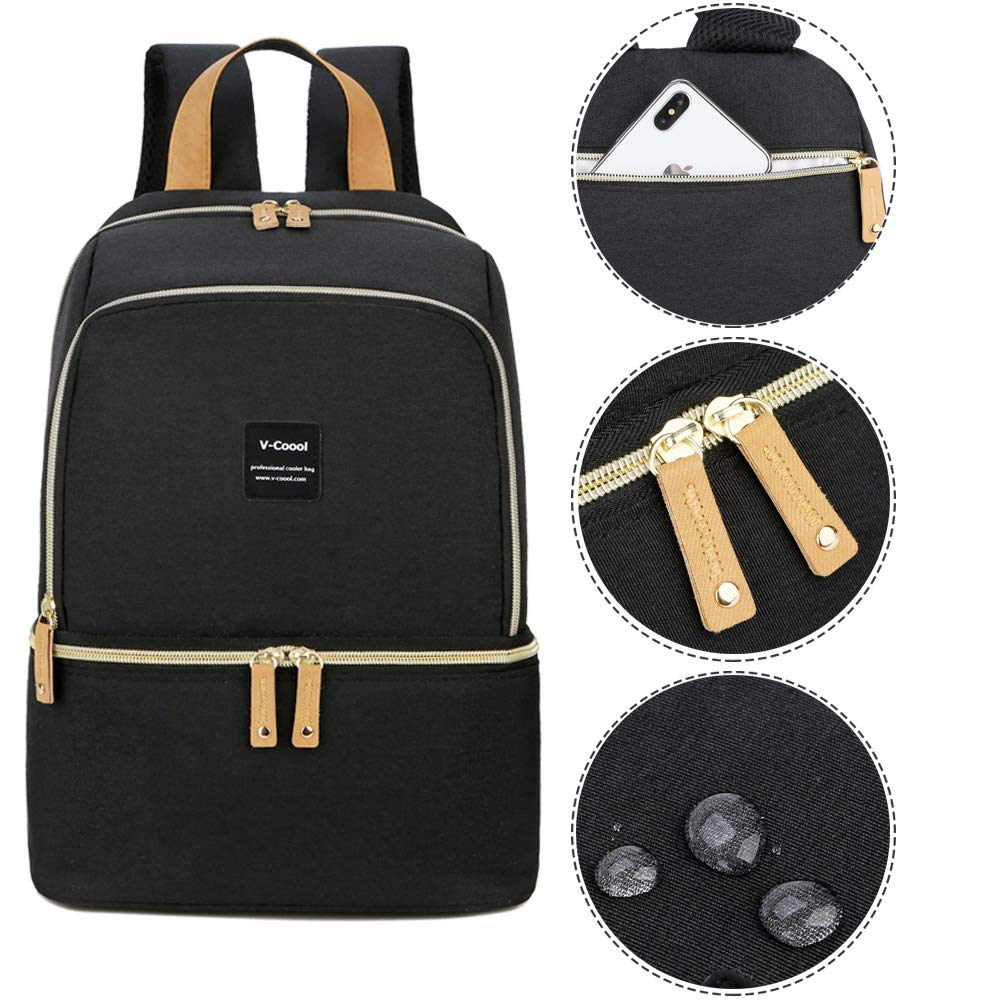 Cooler and Moistureproof Bag Double Layer for Mother Baby Bottle Breast Milk Pump Breastfeeding Outdoor Working Backpack Breast Pump Bag Backpack Fit Most Size Breast Pump Large