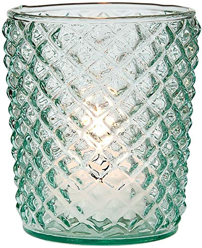 Luna Bazaar Vintage Glass Candle Holder (3-Inch, Zariah Design, Vintage Green, Set of 6) - for Use with Tea Lights - for Home Decor, Parties, and Wedding Decorations