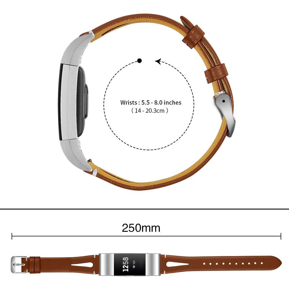 Aottom Compatibile per Cinturino Fitbit Charge 2 Cinturini di Ricambio in Pelle Sottile Sweatproof per Donne Sport Cinturino da Polso in Metallo Fibbia Cinturino per Fitbit Charge 2 Fitness Tracker