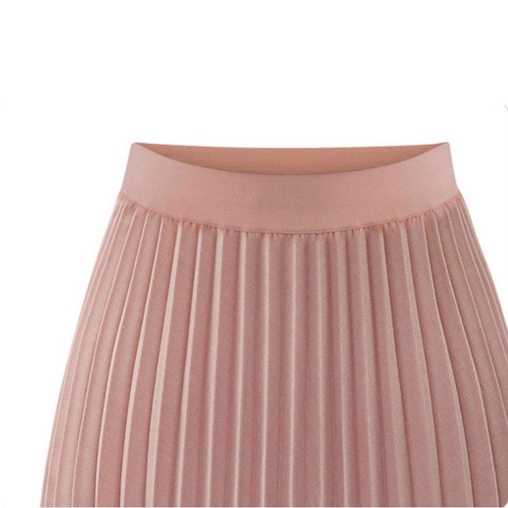 Womens Double Layer Pleated Elegant Dress Midi Elastic Waist Maxi Dress Skirt