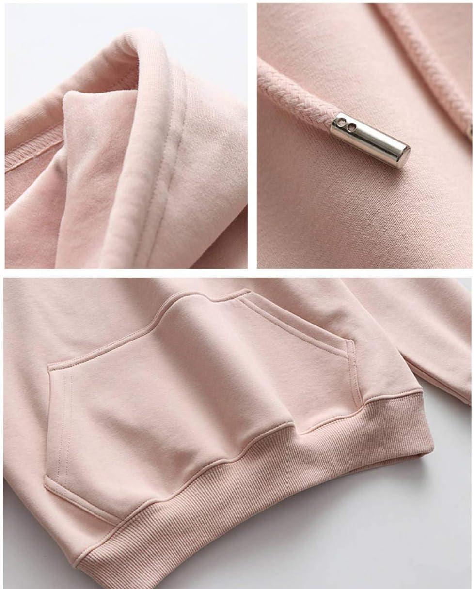 JFCDB Frauen Hoodie,Frauen Cord Hoodies Weibliche einfarbige Kapuzenoberteile Trainingsanzug Sweatshirt Langarm Casual Sportswear Coat Rosa