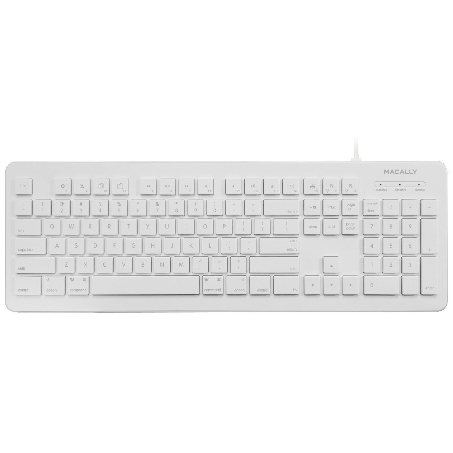 Amazon.com: Macally Full Size USB Wired Computer Keyboard for Mac ...