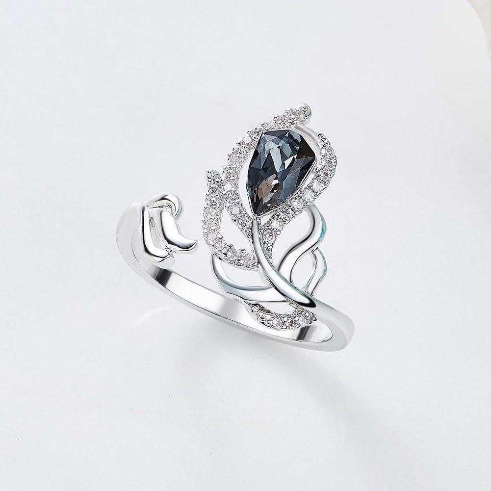 YOURDORA Bague Femme en Argent 925 Sterling Anneau Ouvert R/églable Forme de Plume avec Cristal Noir de Swarovski 18mm
