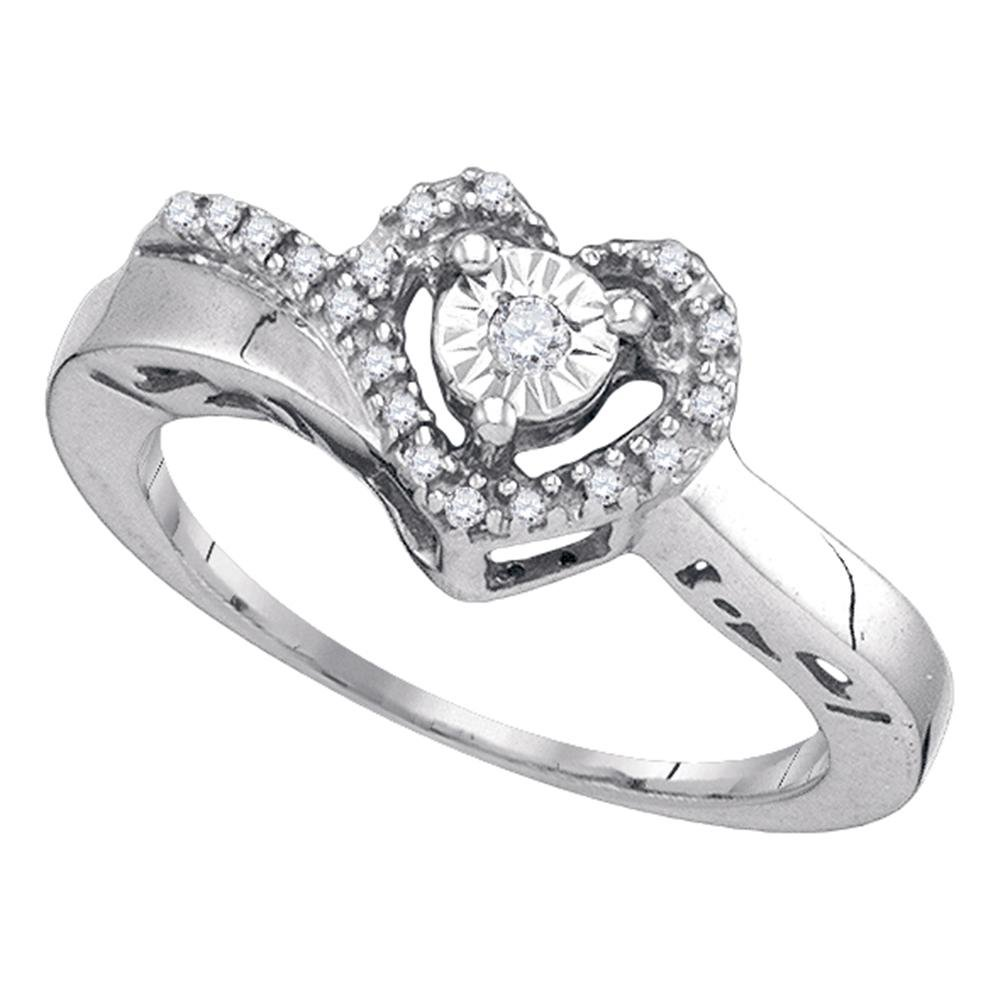 Sterling Silver Womens Round Diamond Heart Love Promise Ring 1/10 Cttw