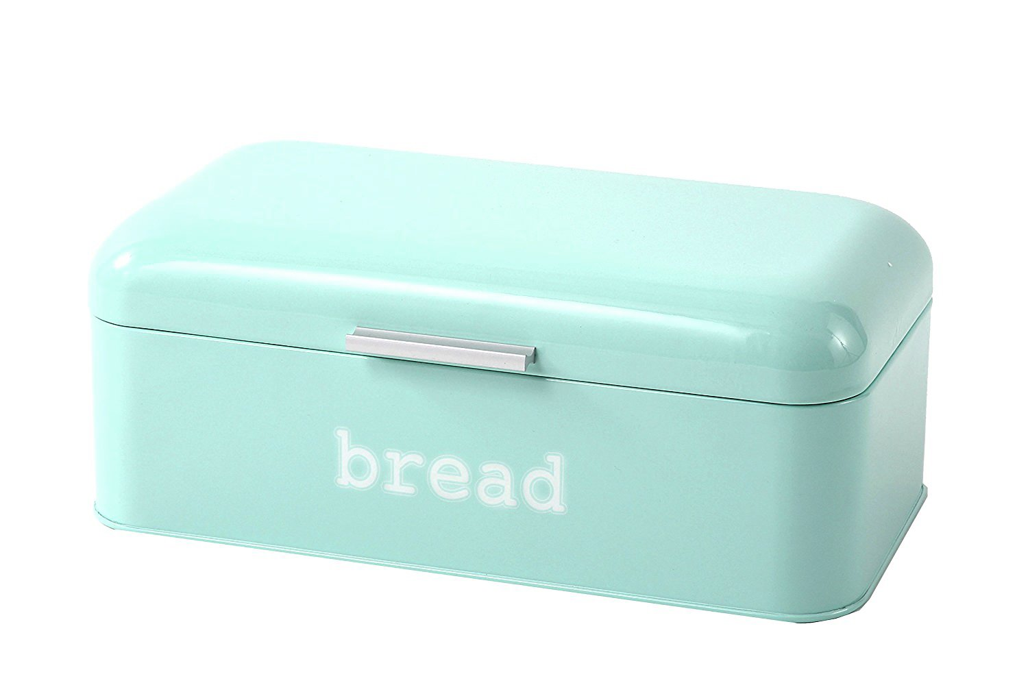 Bread Box for Kitchen Counter - Stainless Steel Bread Bin, Dry Food Storage Container for Loaves, Pastries, Toast and More - Retro Vintage Design, Light Blue, 16.75 x 9 x 6.5 inches