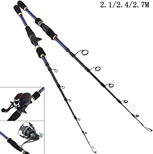 Small Lake 2.1m 2.4m 2.7m Carbon Fiber Lure Fishing Rod MH Power Spinning Casting Rod 6 Section Telescopic Ultra Light Travel Fishing Pole