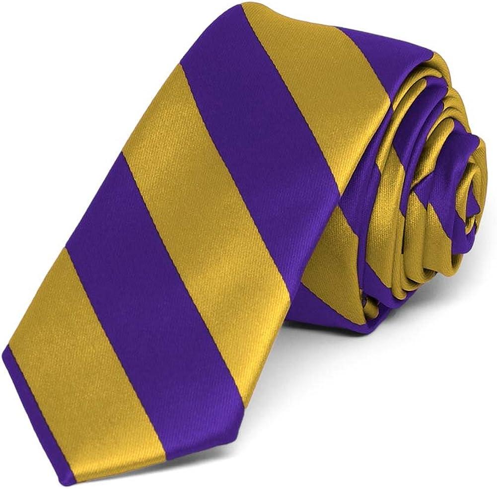 TieMart Boys Dark Purple and Gold Striped Bow Tie
